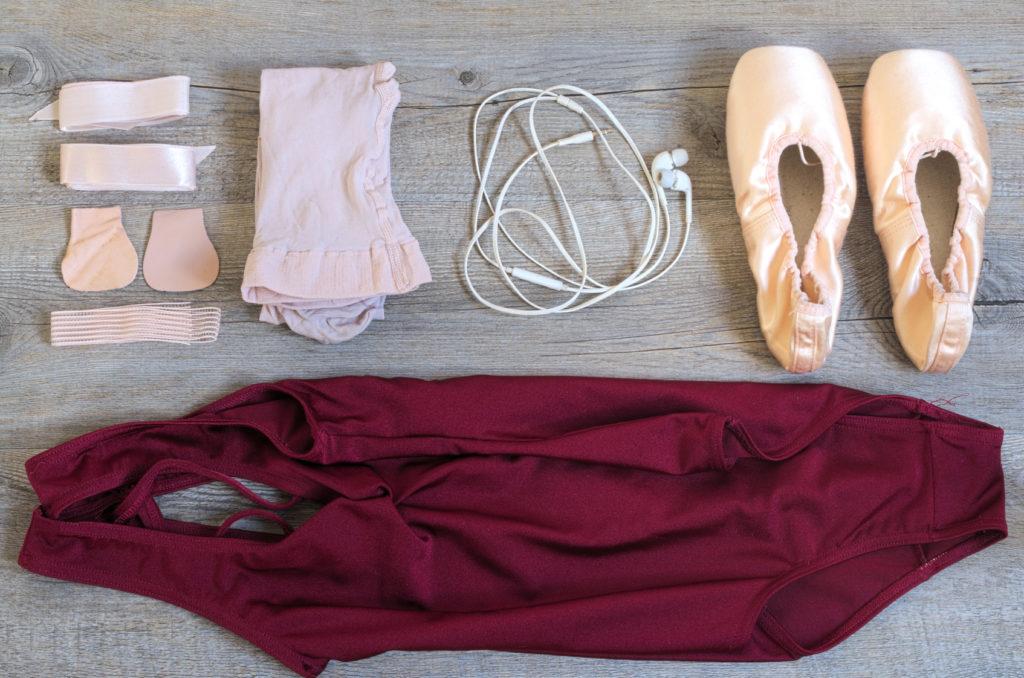 Ballet equipment on wooden floor